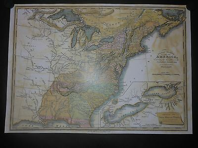 United States America Canadian Frontier Map Mississippi Tribes Territory Reprint