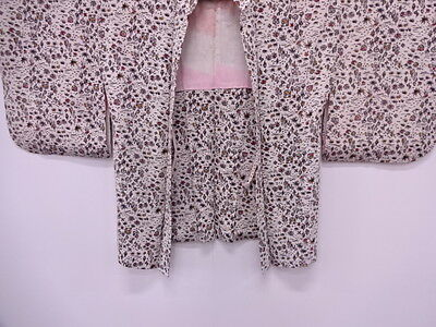 Vintage Japanese Kimono, Antique Haori / Abstract Floral Plants / Silk / Nice