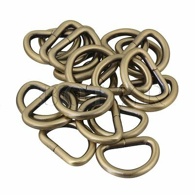 20pcs Light Bronze 2.5cm Metal D Ring Buckle DIY Accessory for Backpack