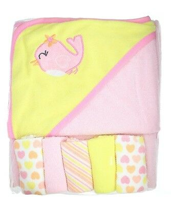 First Steps Pink Bird Soft Hooded Baby Towel & 5 Wash Cloths Bath Gift Set