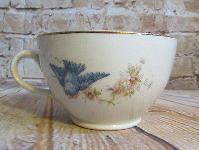 Bluebird China Tea Cup Vintage Pottery Blue Bird on Branch w/ Pink Blossoms