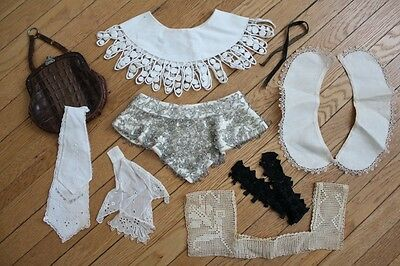 edwardian and vintage collar and purse lot, 1910s, 1930s, crochet, beaded