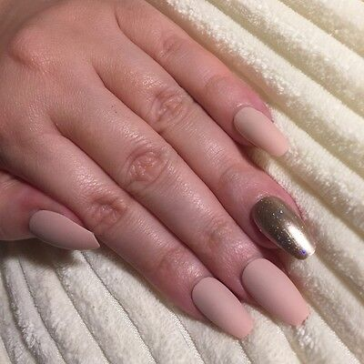 Hand Painted False Nails COFFIN Full Cover. Matte Pink Nude with Champagne Gold