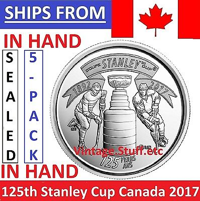 IN HAND 5-Pack 2017 Canada 25 Cents 125th Anniversary Stanley Cup Quarter SEALED