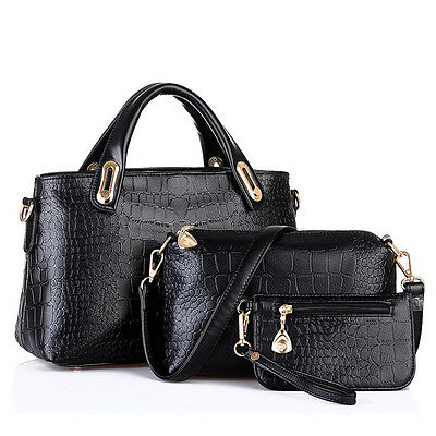 3PCS Handbag Shoulder Bags Women Tote Purse Leather Ladies Messenger Hobo Bag US