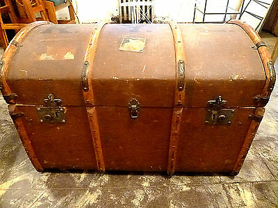 "Antique Steamship Trunk 33"" long x 21 1/2"" wide~14 1/2"" open~22"" to top of dome"