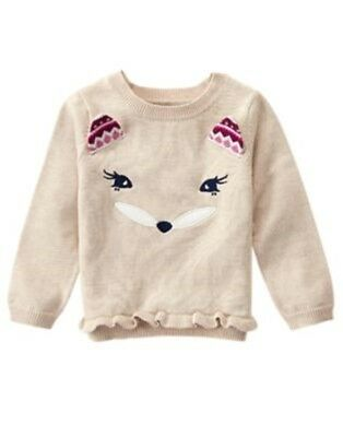 GYMBOREE PLUM PONY OATMEAL w/ FOX FACE RUFFLE SWEATER 6 12 18 24 2T 4T 5T NWT