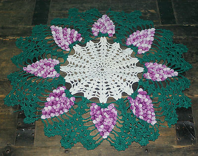 Vintage Crochet Doily White with Green, Purple Grapes