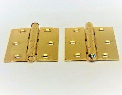 "Pairs of Internal Door Brass Plated Steel Butt Hinges 3.5"" Inch Loose Pin 88mm 2"