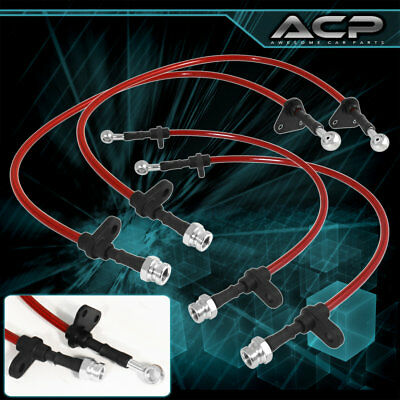 For 05-10 Scion TC Performance Red Stainless Steel Braid Oil Brake Line Black