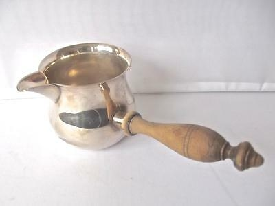 Antique English Silverplate Brandy Warmer Wood Handle Spouted Sauce Butter Pan