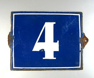 "Antique French Large Blue Enamel Paris House Number, ""4"", Authentic, not a Copy"