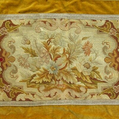 Antique French Handmade Needlepoint Petit Point Tapestry Panel, Table Runner