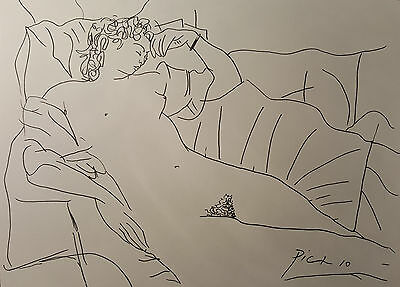 Pablo Picasso Ink Painting, reclining nude woman Signed Drawing, Original Art,