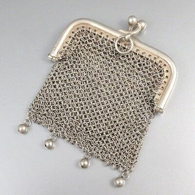 Antique French Silver 800-1000 Mesh Purse, Two Compartments