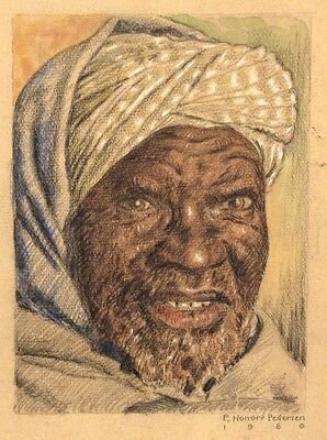 Vintage French Drawing, Orientalism, Portrait of a Man, North Africa, Signed