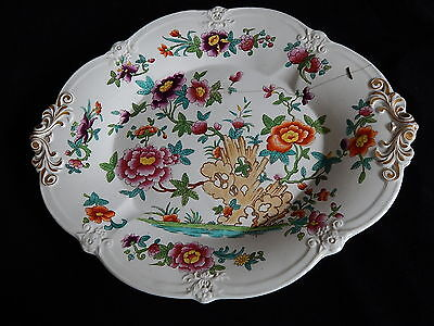 18th Century English or Continental Ceramic Platter With 7 Metal 19th C Staples