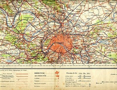 "Antique French Map, ""Paris Region"", French Army Geographic Service, ca 1903"