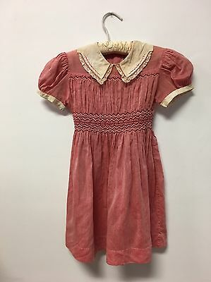 VTG Girl's Polly Flinders Red Party Dress, Size 6, Hand Smocked