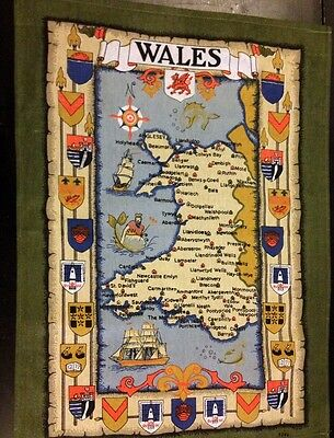 """Colorful WALES Map PatternVintage 100% Cotton Tea Towel never used 26 1/2"""" x 19"""