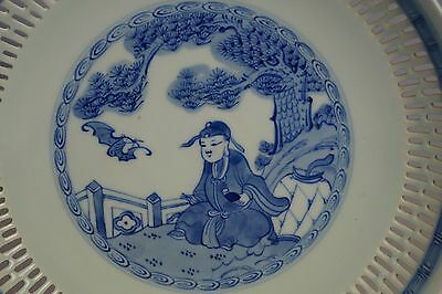 Chinese Porcelain Kangxi Blue & White Bowl Reticulated Landscape Painting