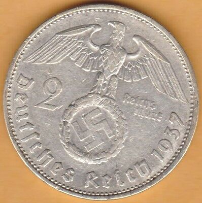 Nazi Silver Coin Germany 3rd Reich 1937 A 2 Reichsmark KM#93 Swastika, Hitler #4