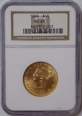 1899 $10 Liberty Head Gold Eagle Coin MS 63 NGC