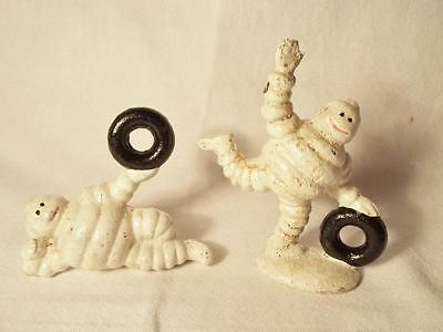 Small Pair Cast Iron Michelin Man Bibendum With Tires Figurines Tire Advertising
