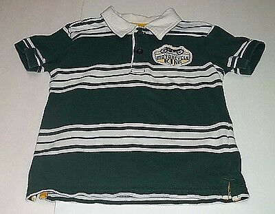 Toughskins Shirt 24 Months Baby Boy Motorcycle Short Sleeve Green White Striped
