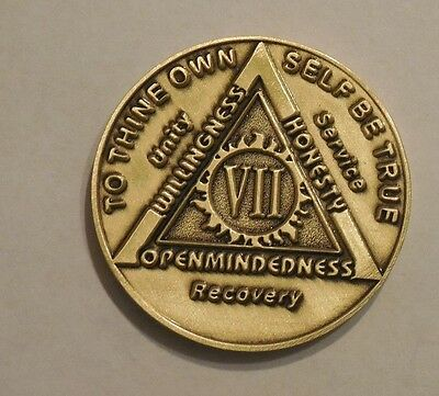 aa bronze alcoholics anonymous 7 year sobriety chip coin token medallion