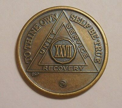 aa alcoholics anonymous bronze 27 year recovery sobriety coin token medallion