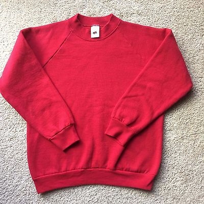 VINTAGE 1980s 1990s FRUIT OF THE LOOM BLANK RED CREWNECK SWEATSHIRT vtg
