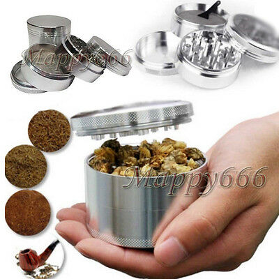 Hot Men Silver Nice 4-piece Metal Hand Muller Herb Spice Tobacco Grinder Crusher