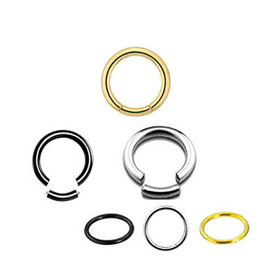 2pc Septum Clicker Segment Ring Hoop Lip Nose Belly Nipple Ear Cartilage Tragus