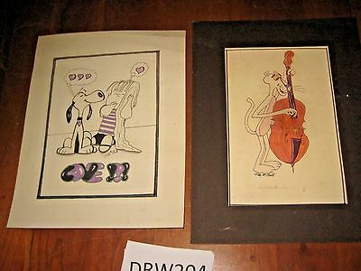 ARTIST SIGNED INK DRAWINGS OF SNOOPY & PINK PANTHER  [DRW204s]
