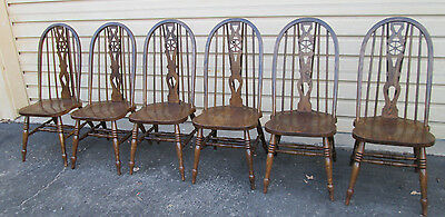 57687 Solid Oak set 6 Windsor Dining Chair s Chairs