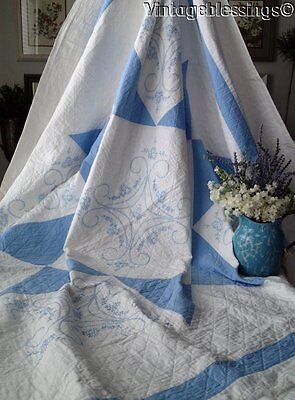 "Beautiful ANTIQUE BLUE & White Embroidered QUILT 85"" x 82"""