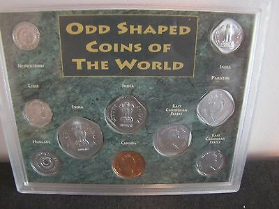 Odd Shaped 10 Coins of the World Includes 3 India Coins Mint in Plastic Case - A