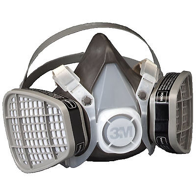 3M Dust Paint Mask Half Face Respirator Filter Spray Protect Smoke Gas Large New