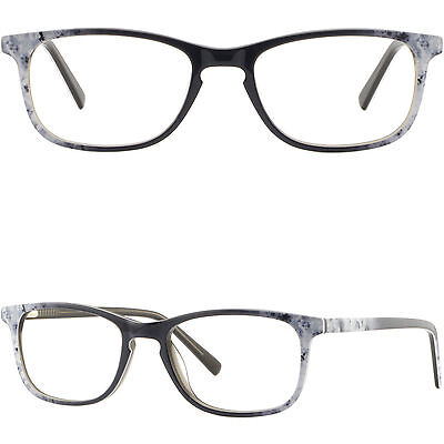 ad81e3108023 Light Mens Women Acetate Plastic Frame Rectangle Prescription Glasses White  Grey