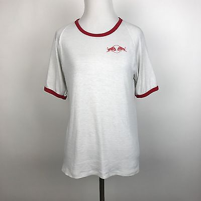 Vtg Red Bull Graphic T Shirt Small S Ringer Soft Thin Distressed Stain Raglan