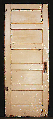 "30""x77"" Antique Vintage Interior Solid Wood Wooden Door Stacked Horizontal Panel"