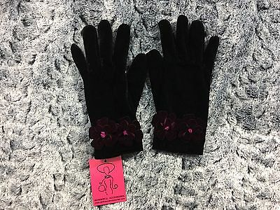 SHIHREEN Women's Black Stretch Gloves with Purple Flower Wrist Detail Size Small