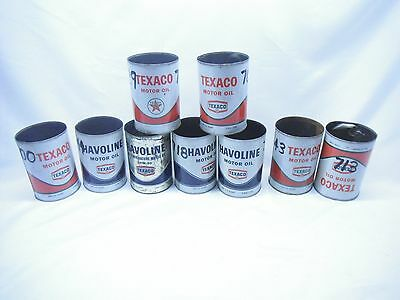 Vintage Havoline TEXACO QUAKER STATE  Motor Oil Can Tin Advertising Display LOT