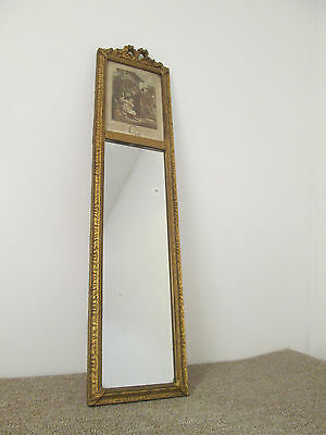 56821 Antique Wood And gesso Mirror with French Print Picture