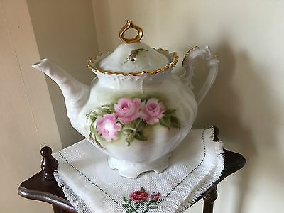 Hand Painted Pink Roses Tea Pot vintage