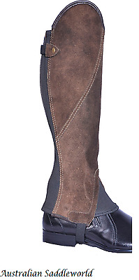 Brown Suede Leather Comfort Gaiters with Elegant Beige Stitching