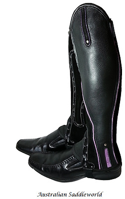 Xtreme Black Leather and Suede Gaiters with Purple Piping and Reflectors