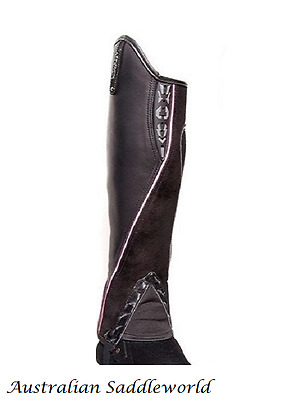 Xtreme Black Leather and Suede Gaiters with Pink Piping and Reflectors