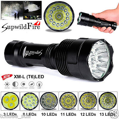 SupwildFire 38000LM 15x XM-L T6 LED Taschenlampe 5 Modi 26650 Torch hell Lampen